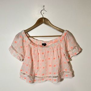 Topshop Boho Crop Top Blouse Size S